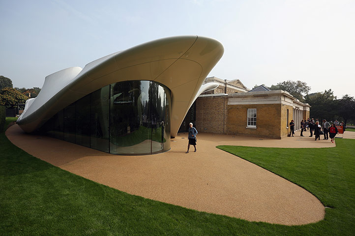 Members of the public admire the redeveloped Serpentine Sackler Gallery in