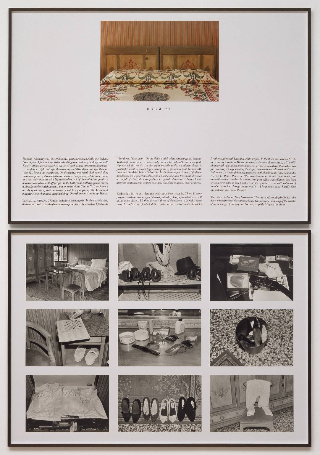 The Hotel, Room 28 1981 by Sophie Calle born 1953