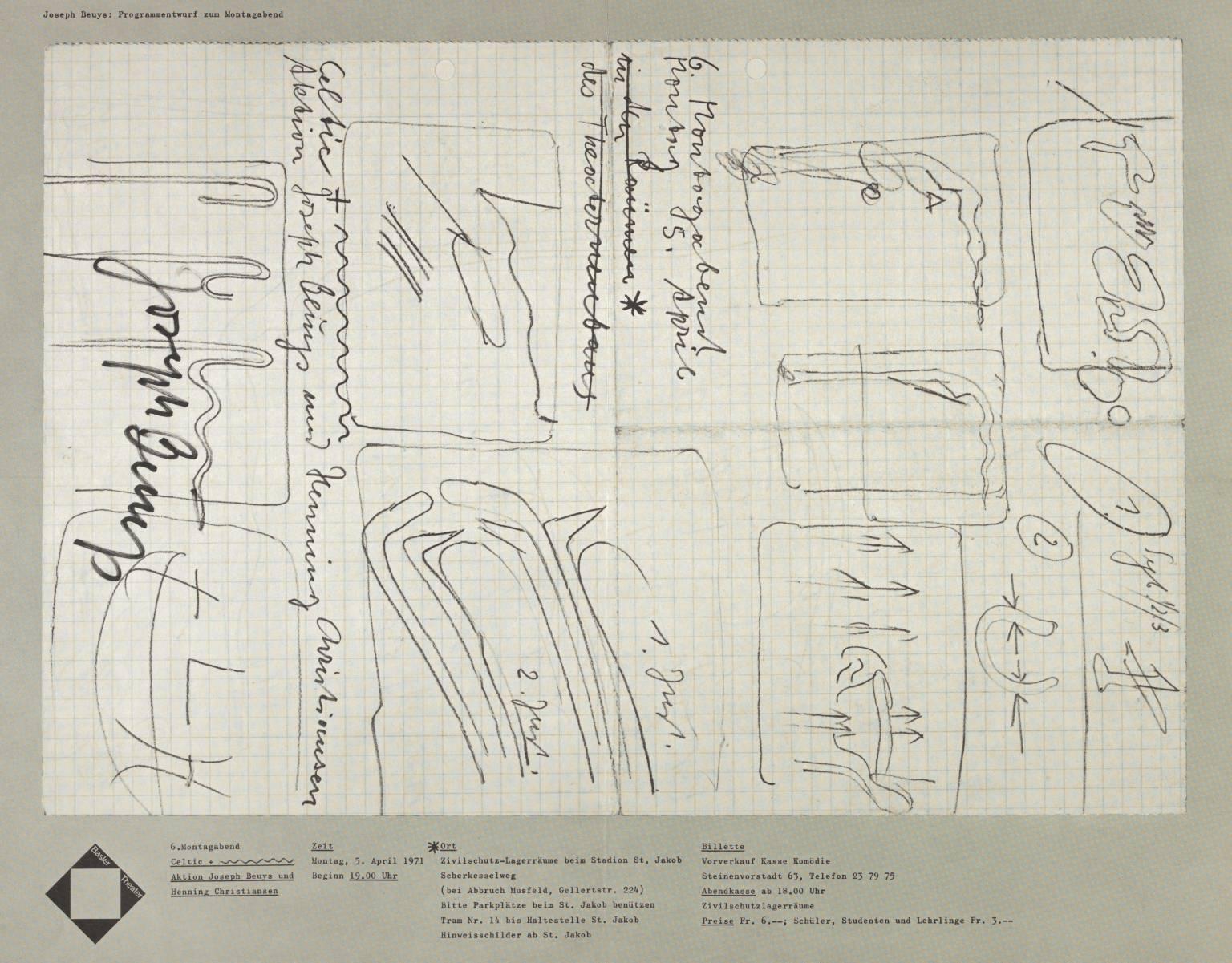 Joseph Beuys: Programmentwurf zum Montagabend. Baster Theater 1971 by Joseph Beuys 1921-1986