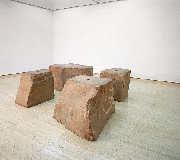 Artist : Anish Kapoor (India; England, b.1954)  Title :  Date : 1989 Medium Description: four blocks of Northumbrian sandstone and pigment Dimensions :  Credit Line : Mervyn Horton Bequest Fund 1990 Image Credit Line :  Accession Number : 215.1990.a-d